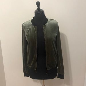 Socialite army green suede bomber